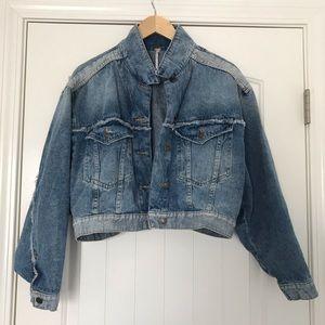 Free People Distressed Crop Denim Jacket